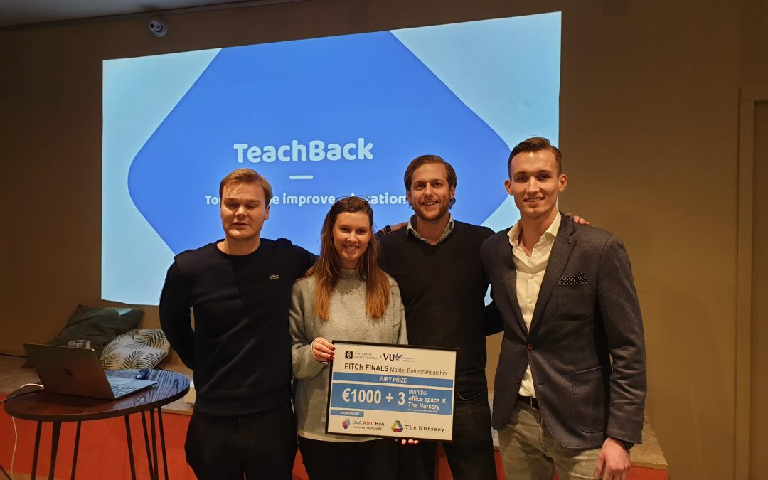 Teachback winner of UvA and VU masters entrepreneurship pitch finals